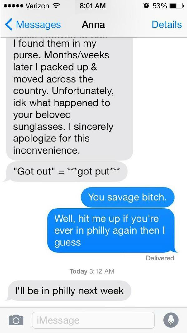 THE END-Guy Whose Sunglasses Got Stolen After A One Nightstand Texts The Girl For A Year.