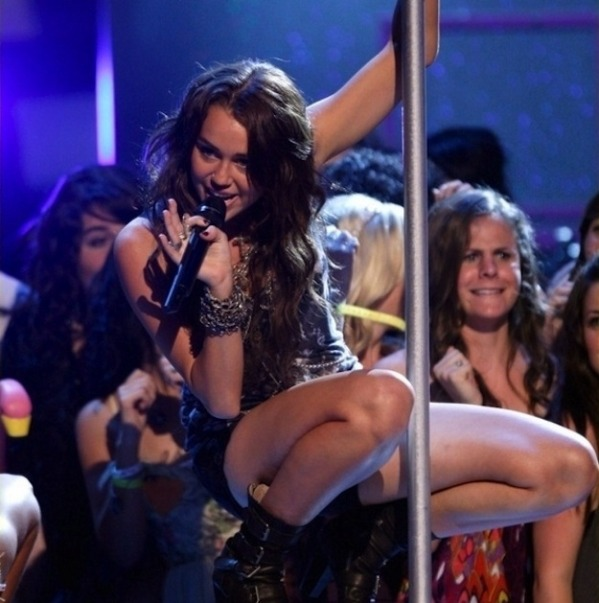 Miley a Pole Dancer?-15 Images That Show Miley Cyrus Has Become Trashy