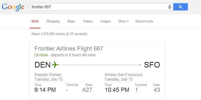Check Flight Information-15 Google Hacks That Make Your Life Simpler