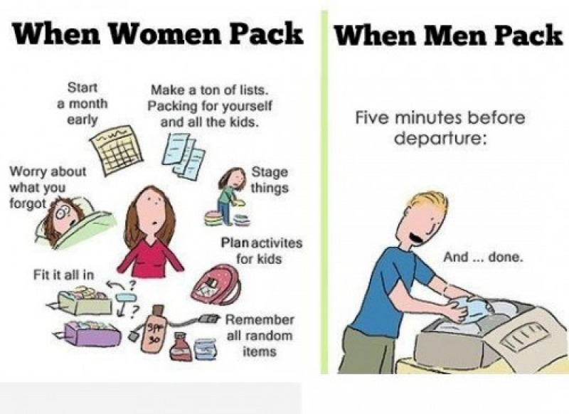 Packing: Men vs. Women-15 Hilarious Differences Between Men And Women