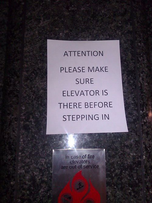 Yes, This Elevator Kind of Plays Hide and Seek with People Around-15 Signs That Are Too Dumb To Digest
