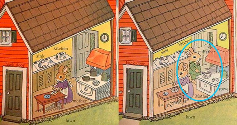Dad Is In Kitchen, Cooking-10 Changes To Children Books That Depict Changes In Our Society