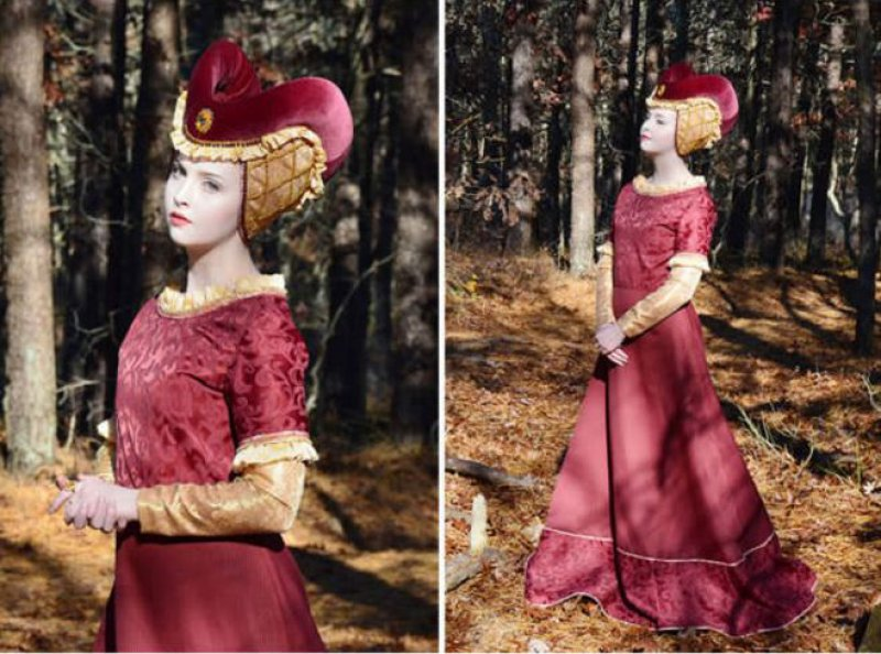 Maroon Gown with Gold Detailing-Meet The Girl Who Sews Her Own Cosplay Dresses