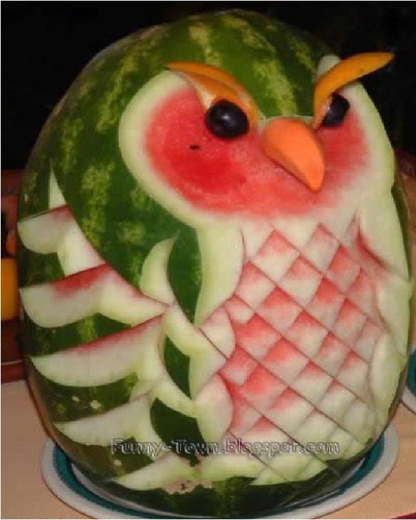 Owl Watermelon-Amazing Watermelon Art