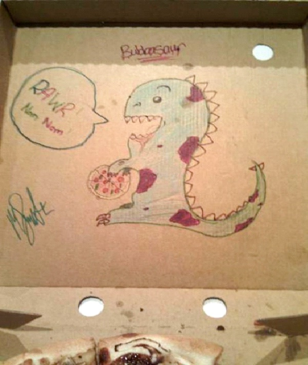 """Dinosaur Fun-Funny """"Special Request"""" Pizza Box Drawings"""