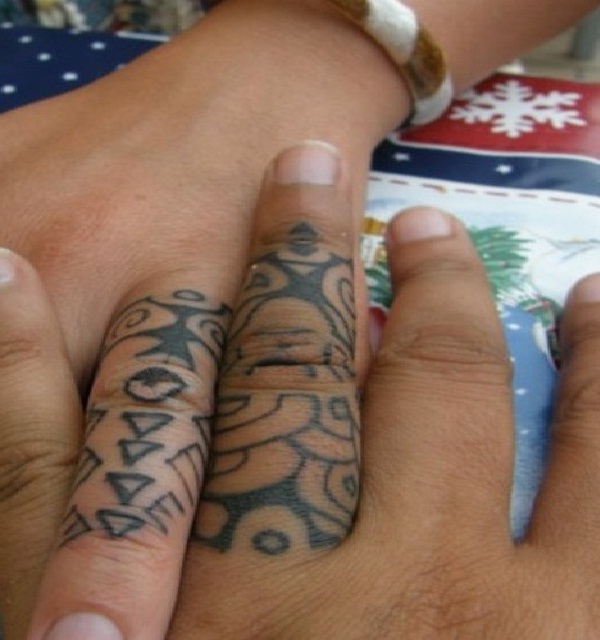 Tribal-Cool Wedding Ring Tattoos