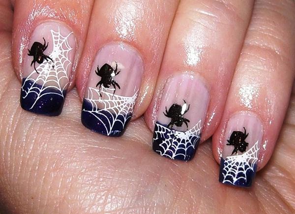 Spiders web-Halloween Nail Art