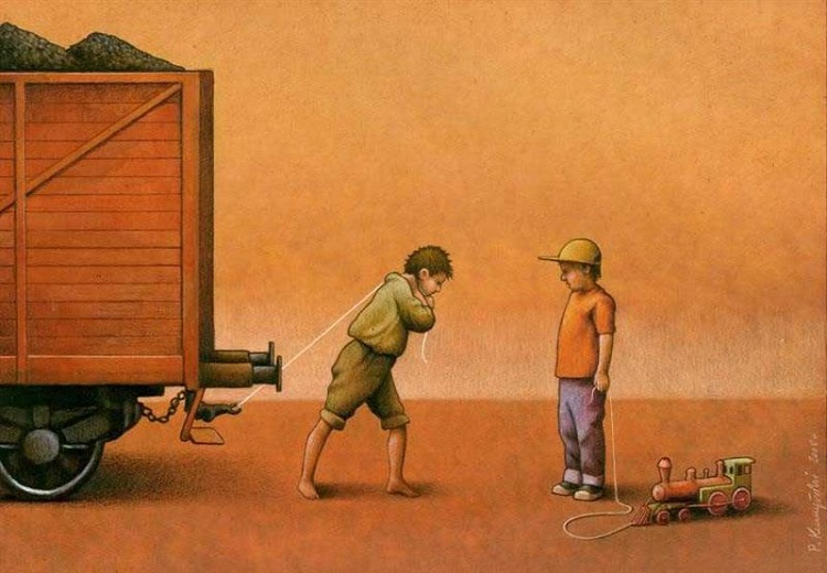 Who has the train and who has the coal?-Thought-Provoking Satirical Illustrations By Pawel Kuczynski