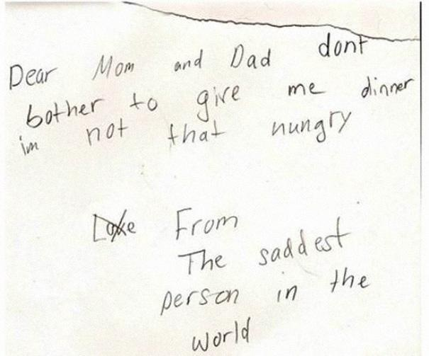 So sad-Hilarious And Honest Notes From Kids