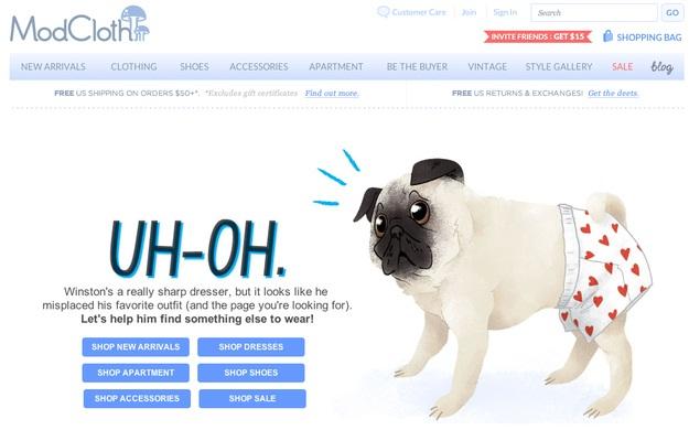 Undressed Winston-Funny Website Error Messages