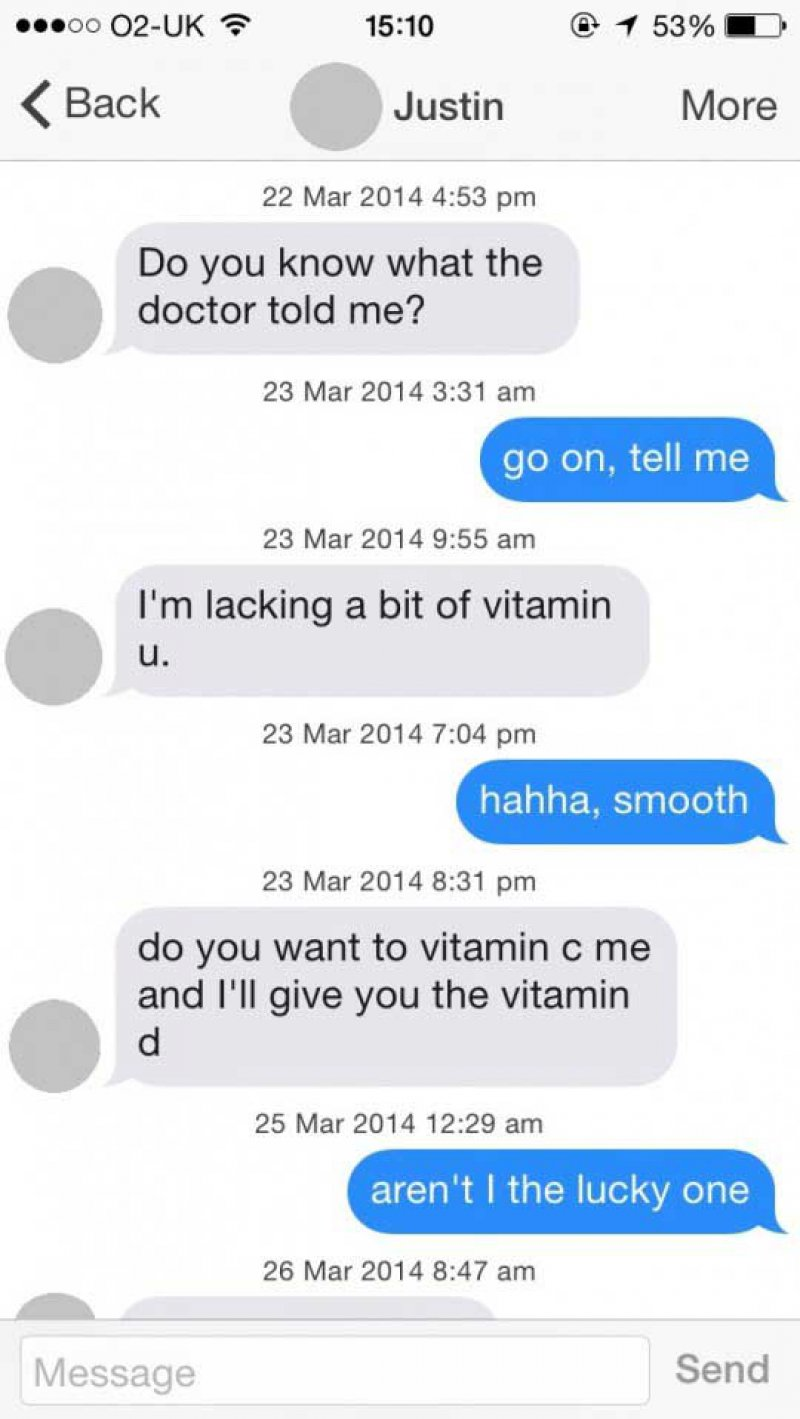 This Vitamin Filled Conversation-15 Funniest Pickup Lines To Use On Tinder