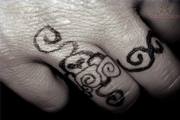 Aztec-Cool Wedding Ring Tattoos
