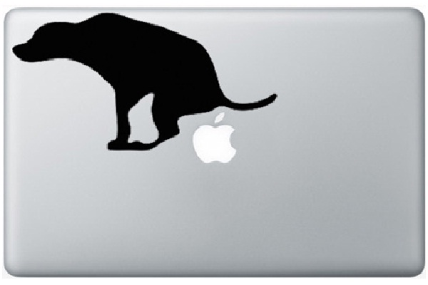 Dog bathroom funny macbook stickers