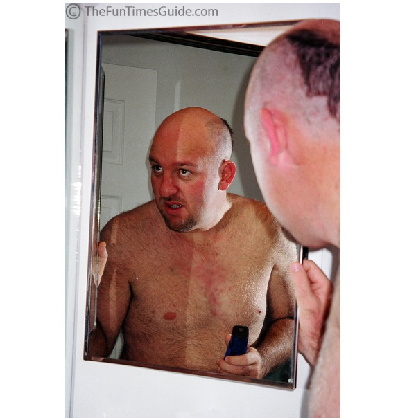 Turn it into a joke mirror-Funniest Solutions For Baldness