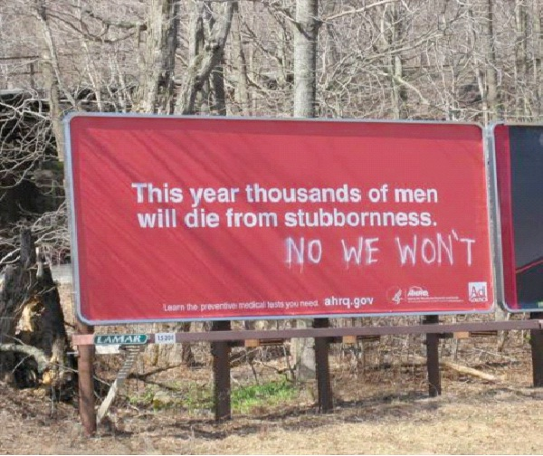 Stubborn Men-Funniest Billboard Graffiti