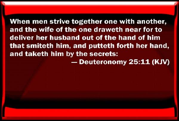 Deut. 25:11-Crazy Biblical Quotes