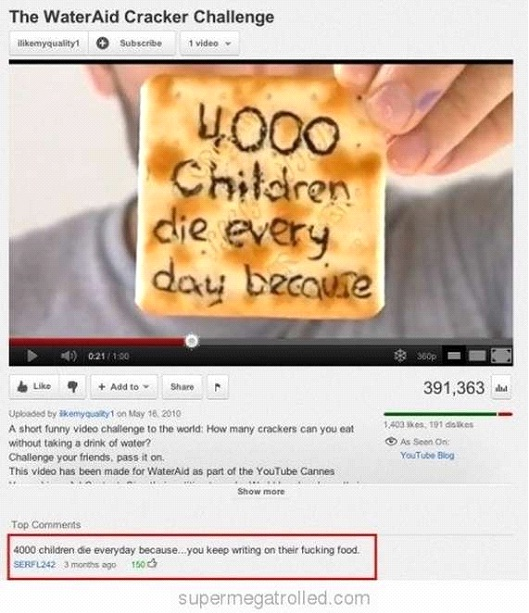 Wasted Cracker-Most Hilarious YouTube Comments