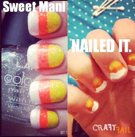 Candy Corn Nails Fail-Hilarious Pinterest Fails