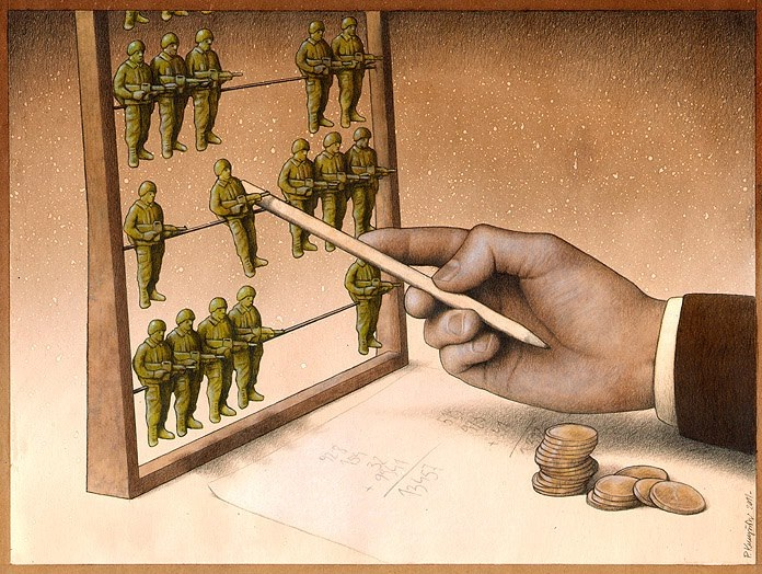 The cost of the military-Thought-Provoking Satirical Illustrations By Pawel Kuczynski