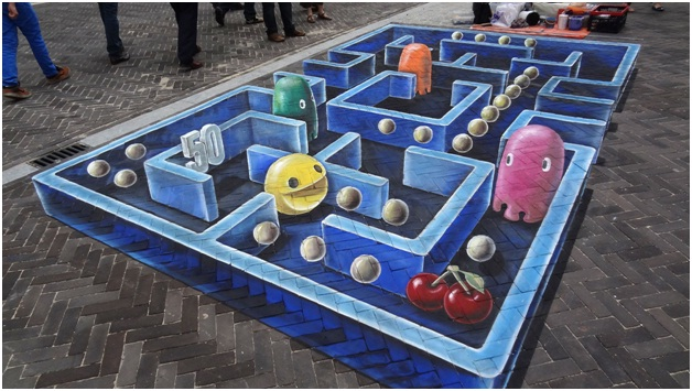 Life Size Pac-Man-Amazing 3D Street Art