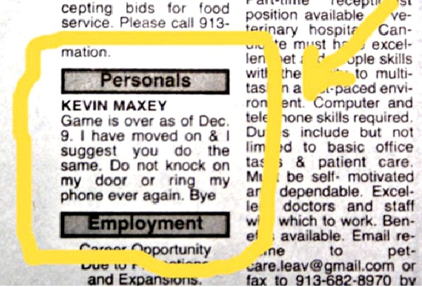 Classified Personal Ad-Worst Break Up Letters