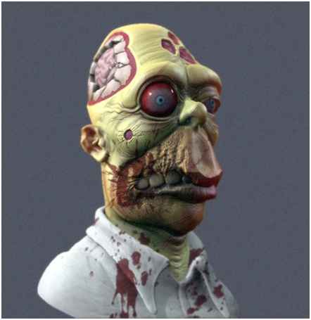 Homer The Zombie-Zombified Faces Of Famous Cartoons