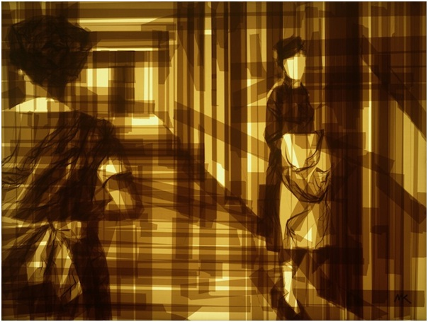 Faceless In The Hall-Amazing Packing Tape Art