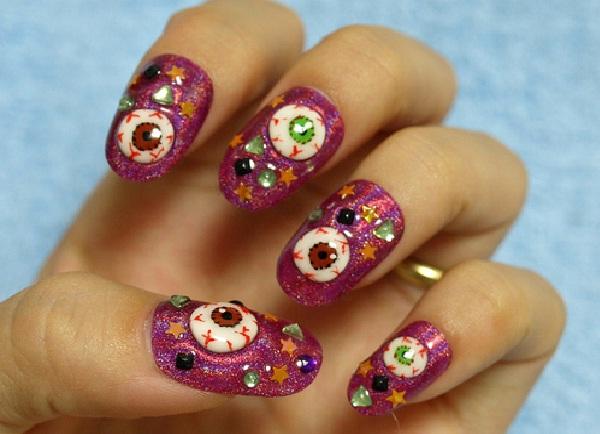 Glittery Eyeballs-Halloween Nail Art