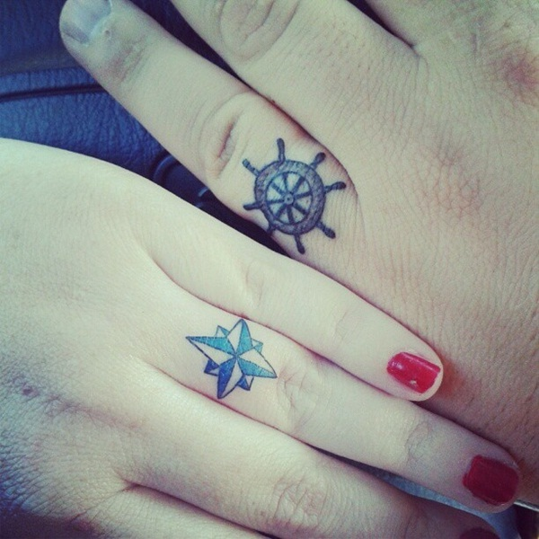 Wheel & Star-Cool Wedding Ring Tattoos
