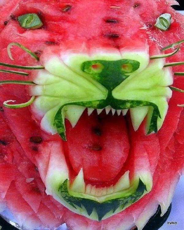 Roar Watermelon-Amazing Watermelon Art
