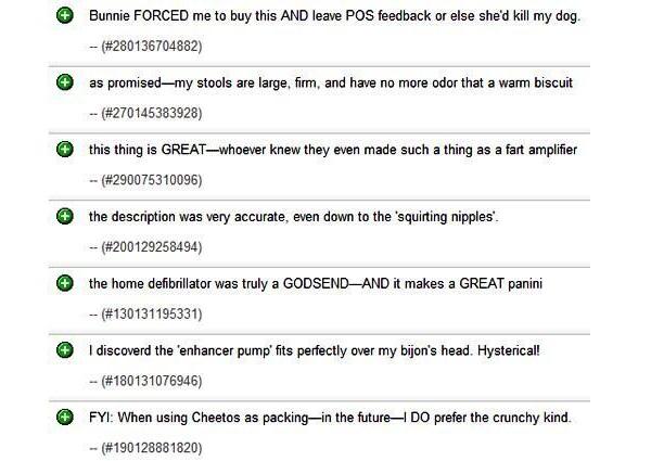 Farts-Hilarious Ebay Feedback
