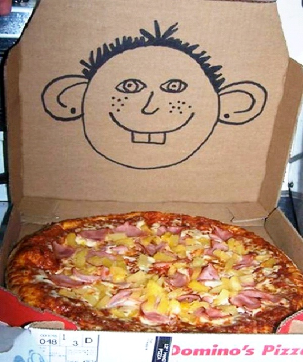 "Goofy Pizza-Funny ""Special Request"" Pizza Box Drawings"