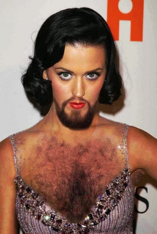 Katy Perry-24 Hilarious Female Celebrities With Beard Photos