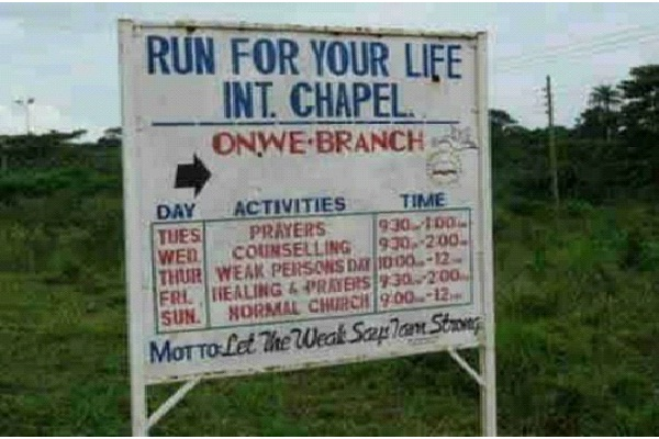 """Run For Your Life?""-Bizarre Church Names"