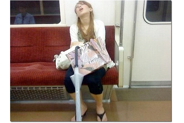 Commuting-Funny Ways People Found Sleeping