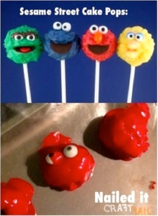 Sesame Street Cake Pops Fail-Hilarious Pinterest Fails