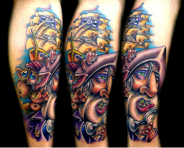 Colorful Pirate-Pirate Tattoos