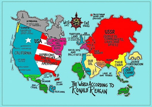 The World According To Ronald Reagan-Funny Maps You Won't Learn In School