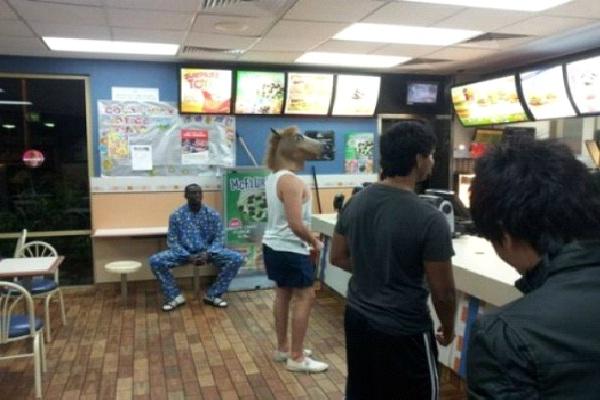 Horse Head-Strange People At McDonalds