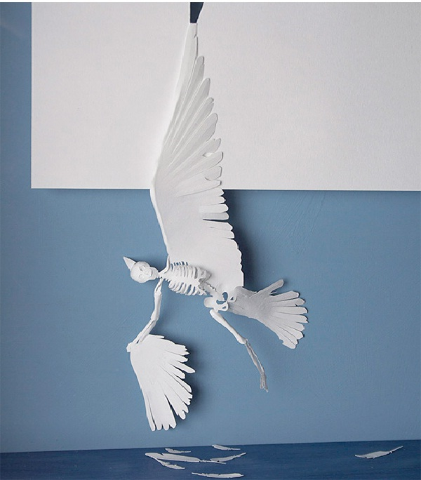 dead bird-Papercut Sculptures From Single Sheet Of A4