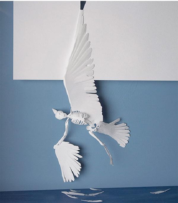 Dead Bird-Papercut Sculptures From Single Sheet Of A4