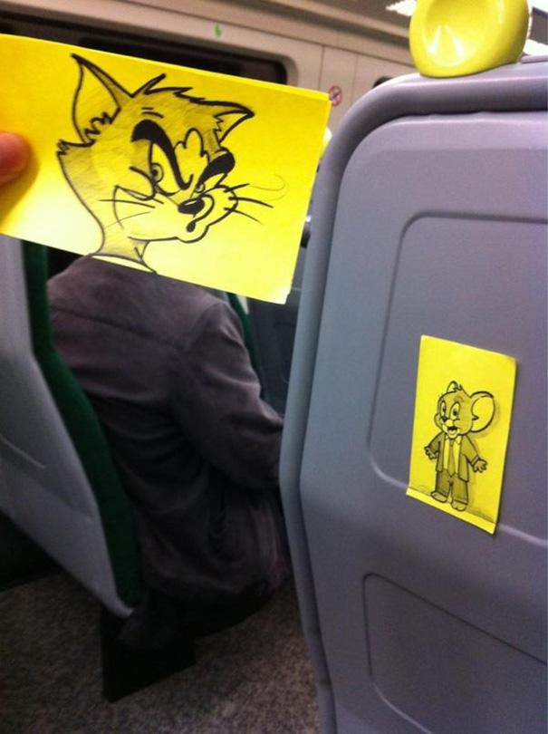 Tom And Jerry-Amazing Pics Of Train Passengers With Cartoon Heads By October Jones