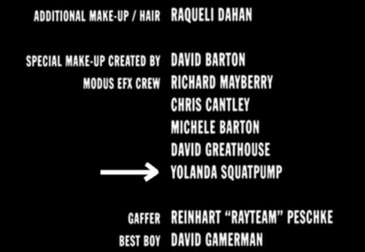 Yolanda Squatpump-Funny Little Moments Found In Movie Credits