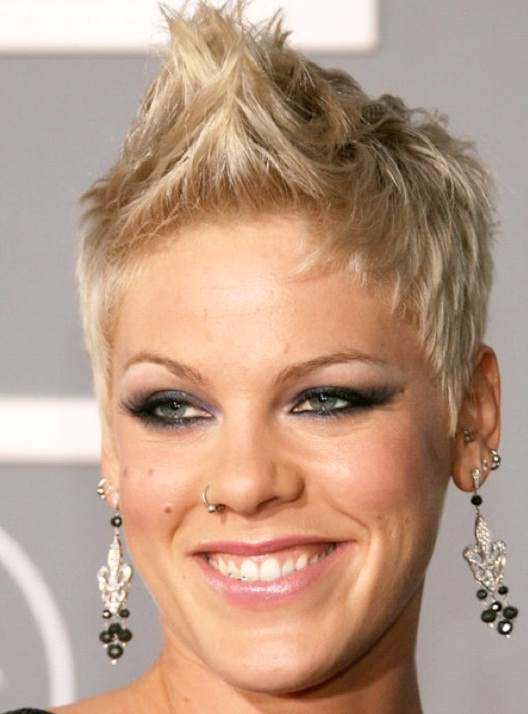 Pink-12 Celebrities With Really Short Hair