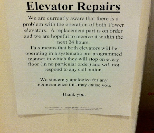 Mind Of Its Own-Absolutely Hilarious Elevator Notes