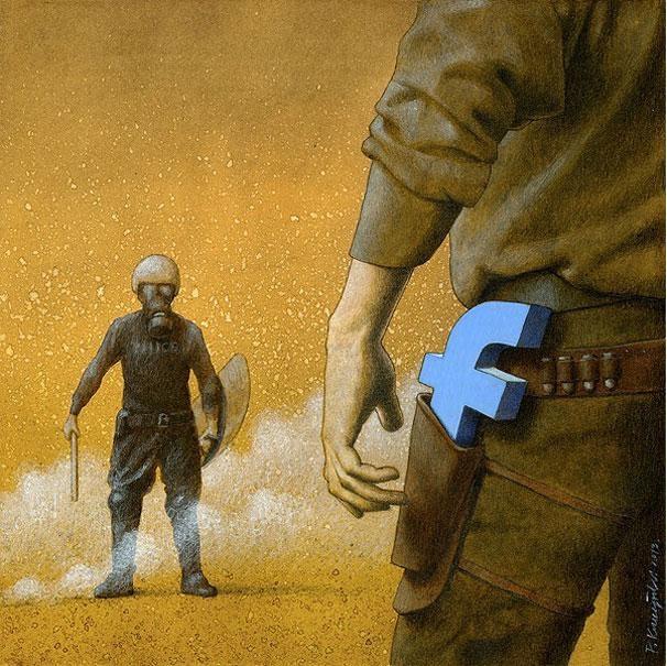 The Internet warrior-Thought-Provoking Satirical Illustrations By Pawel Kuczynski