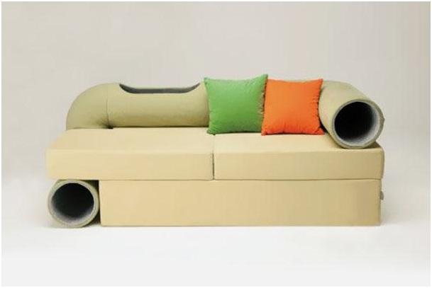 Cat Tunnel Sofa-Pet Friendly Furniture Ideas