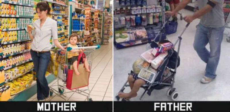 Shopping Time - Mom vs. Dad-15 Hilarious Differences Between Mom And Dad