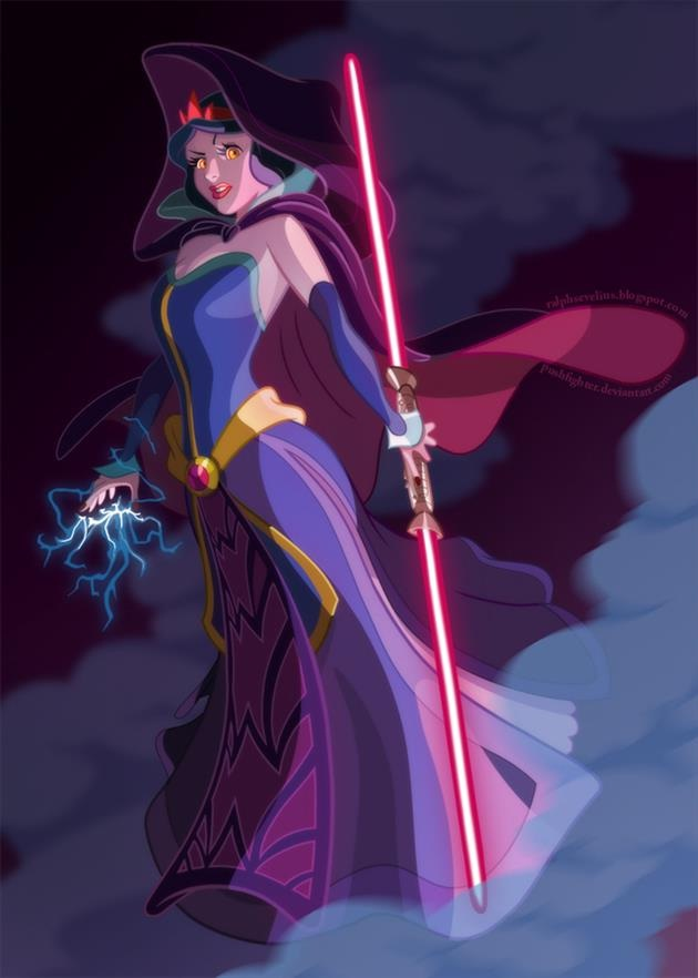 She looks evil-Disney Characters In Star Wars Theme