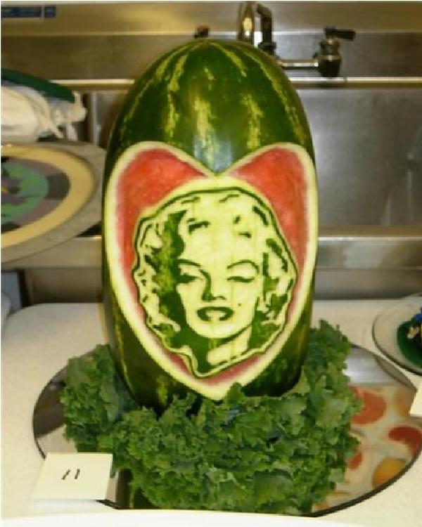 Marilyn Monroe Watermelon-Amazing Watermelon Art